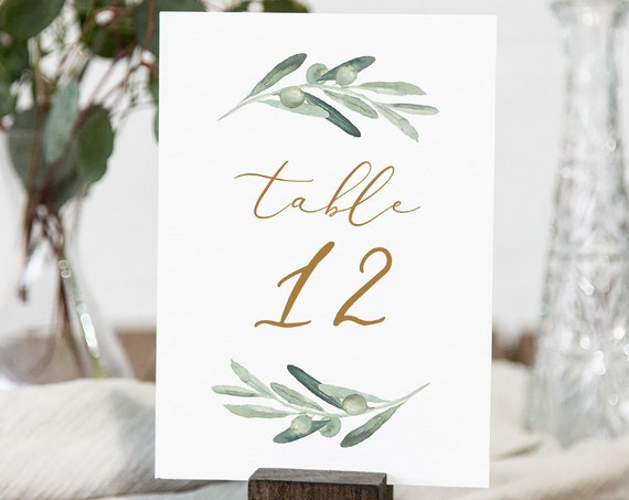 Table Number Card Template, Printable Olive Greenery Wedding Table Number, 100% Editable Text, INSTANT DOWNLOAD, Templett, 4x6 #081-153TC
