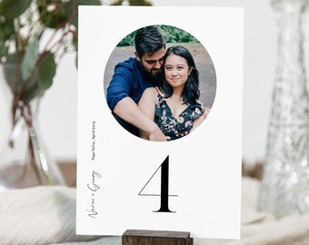 Photo Table Number Card Template, Minimalist Wedding Table Number, Simple, Modern, Editable, INSTANT DOWNLOAD, Templett 4x6 #096-178TC