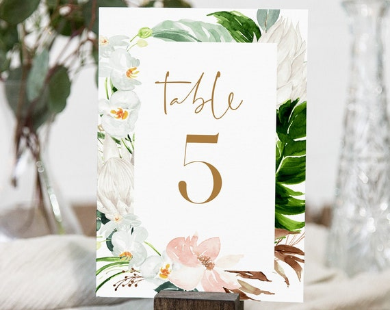 Beach Table Number Card Template, Printable Lush Greenery & Gold Table Number, Tropical Wedding, INSTANT DOWNLOAD, Templett, 4x6 #079-156TC