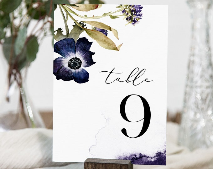 Anemone Table Number Card Template, Fall / Winter Floral Wedding Table Number, Editable, INSTANT DOWNLOAD, Templett, DIY 4x6 #0014-187TC