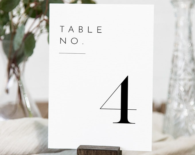 Minimalist Table Number Card Template, Rustic Simple Clean Wedding Table Number, Editable, INSTANT DOWNLOAD, Templett, DIY 4x6 #094-168TC