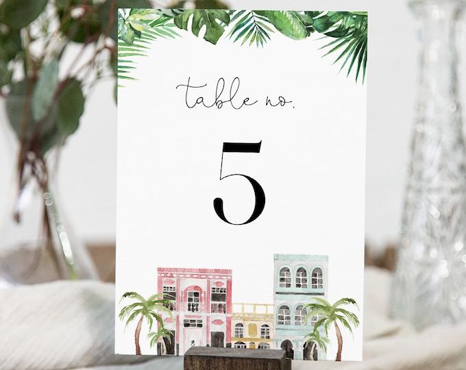 Charleston Wedding Table Card Template, Rainbow Row Table Number Printable, Editable Text, Instant Download, Templett, 4x6 #017B-174TC