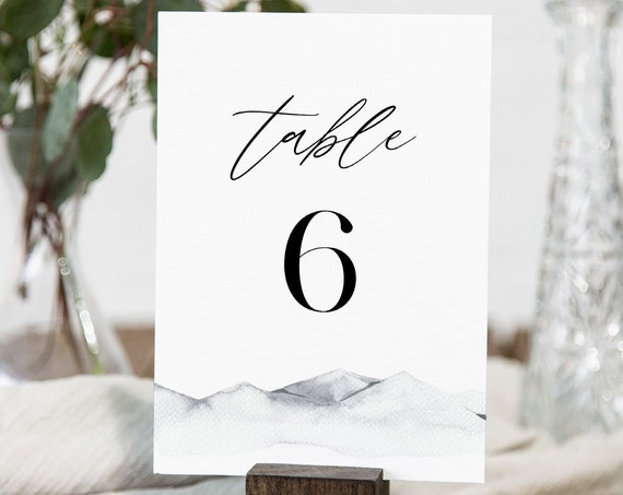 Mountain Table Number Card Template, Printable Minimalist Table Number, Rustic Wedding, Editable, INSTANT DOWNLOAD, Templett, 4x6 #004-157TC