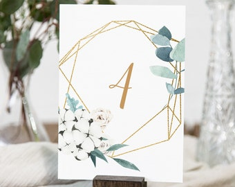 Table Number Card Template, Printable Winter Greenery Wedding Table Number, 100% Editable Text, INSTANT DOWNLOAD, Templett, 4x6 #091-160TC