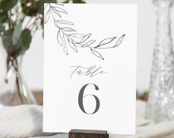Laurel Table Number Card Template, Fine Art, Minimalist Wedding Table Number, Editable, INSTANT DOWNLOAD, Templett, DIY 4x6 #0006B-183TC
