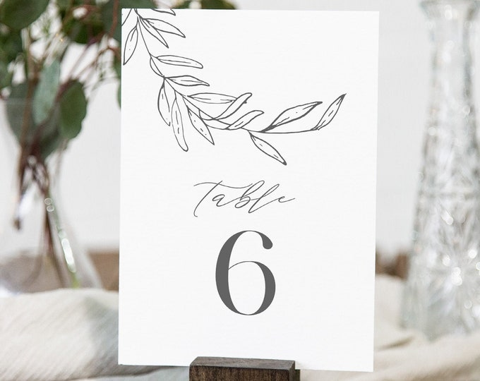Laurel Table Number Card Template, Fine Art, Minimalist Wedding Table Number, Editable, INSTANT DOWNLOAD, Templett, DIY 4x6 #0006B-183TC