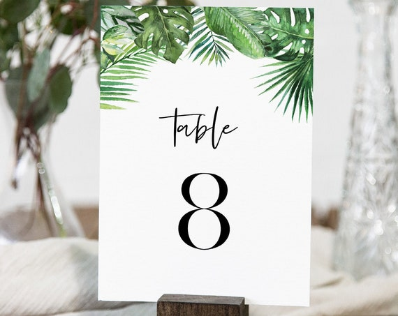 Tropical Table Number Card Template, Beach Wedding Table Number, Editable Text, Instant Download, Templett, Printable, DIY 4x6 #083-173TC