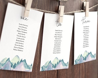Mountain Seating Cards, Rustic Seating Chart, Pine Tree Seating Plan, Editable Template, Instant Download, Templett, DIY #063-142SP