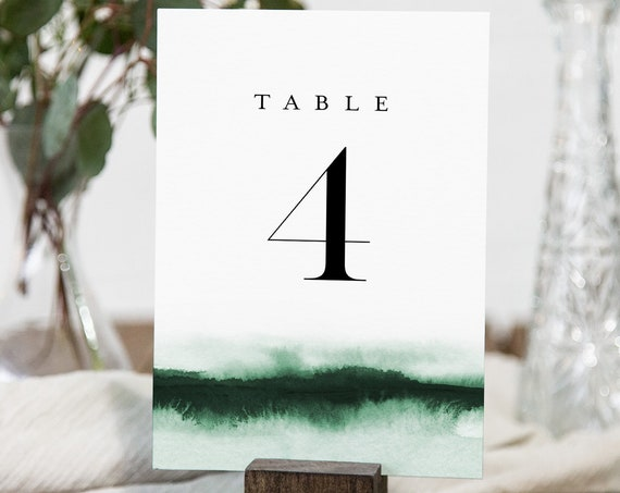 Emerald Green Table Number Card Template, Watercolor Wedding Table Number, Editable, Instant Download, Templett, Printable 4x6 #093C-171TC