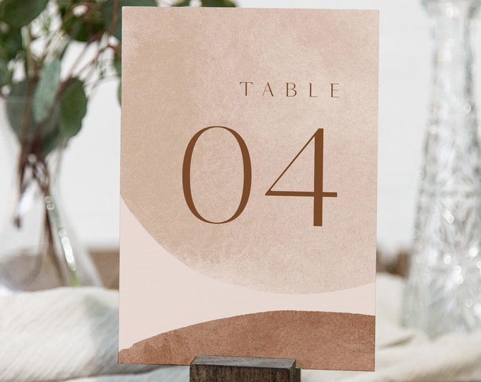 Earthy Table Number Card Template, Minimalist Abstract  Wedding Table Number, Editable, INSTANT DOWNLOAD, Templett, DIY 4x6 #0016-192TC