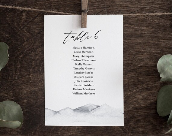 Seating Chart Template, Watercolor Mountain Wedding Seating Plan, Minimalist, Hanging Cards, Editable, Instant Download, Templett #004-130SP