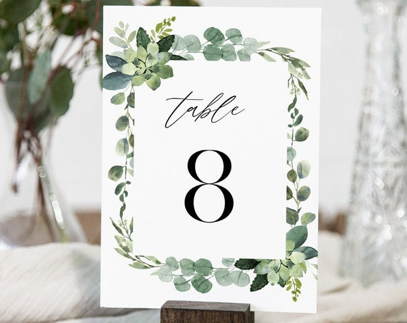 Greenery Table Number Card Template, Garden Wedding Table Number, Editable Text, Printable, INSTANT DOWNLOAD, Templett, DIY 4x6 #082-179TC