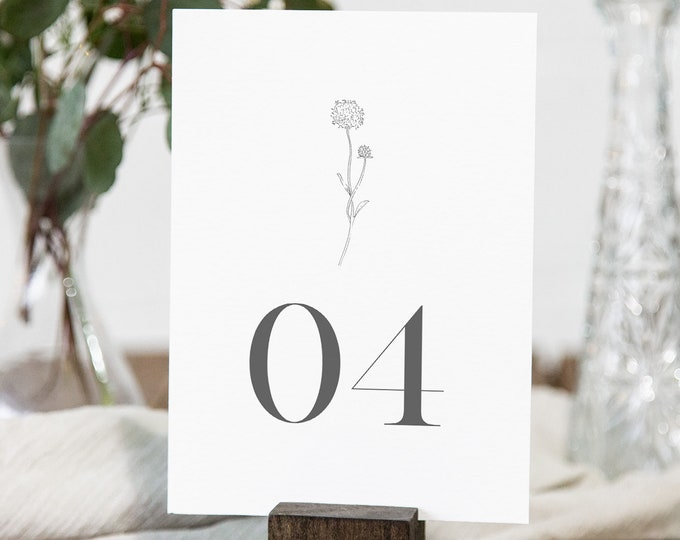 Dandelion Table Number Card Template, Simple Minimalist Wedding Table Number, Editable, INSTANT DOWNLOAD, Templett, DIY 4x6 #0006A-181TC