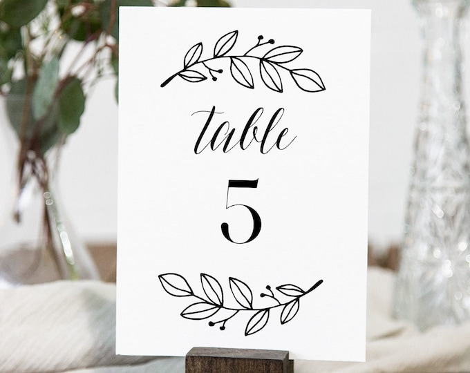 Rustic Table Number Card Template, Modern Calligraphy Wedding Table Number, Editable, Instant Download, Templett, Printable 4x6 #039-172TC