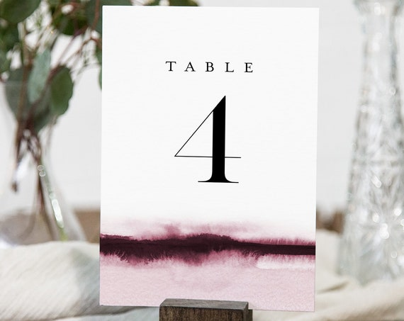 Watercolor Table Number Card Template, Burgundy Wine Wedding Table Number, Editable, Instant Download, Templett, Printable 4x6 #093B-170TC