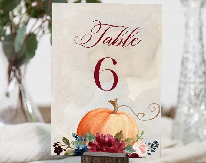 Pumpkin Table Number Card Template, Printable Thanksgiving Table Number, Fall Wedding, Editable, INSTANT DOWNLOAD, Templett, 4x6 #072A-158TC