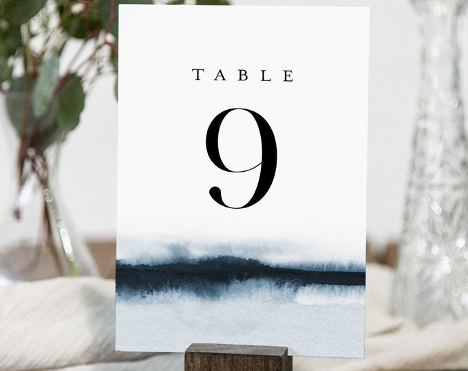 Elegant Table Number Cards, Printable Wedding Table Number, Modern Watercolor, Editable Template, Instant Download, Templett #093A-164TC