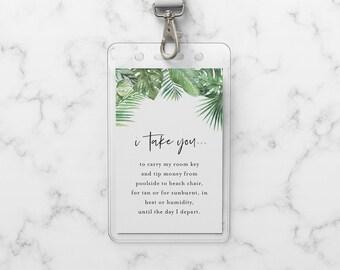 Wedding Room Key Card Tag Template, Printable Tropical Palms Key Card Pocket, Destination Wedding, Instant Download, Templett #083-102RKH