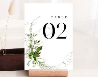 Modern Greenery Table Number Card Template, Minimalist Wedding Table Number, Editable, Instant Download, Templett, DIY 4x6 #0011-200TC