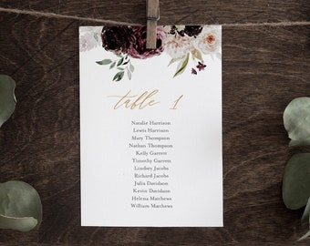 Moody Floral Seating Chart Printable, Table Seating Cards, Wedding Seating Plan Template, INSTANT DOWNLOAD, 100% Editable Text #074-131SP