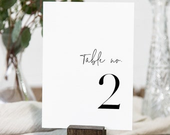 Minimalist Table Number Card Template, Modern Simple Clean Wedding Table Number, Editable, INSTANT DOWNLOAD, Templett, DIY 4x6 #095A-186TC