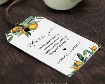 Citrus Orange Favor Tag for Bridal Shower or Wedding, Welcome Bag Tag, Lemon Thank You Tag, INSTANT DOWNLOAD, Editable Text #084-139FT