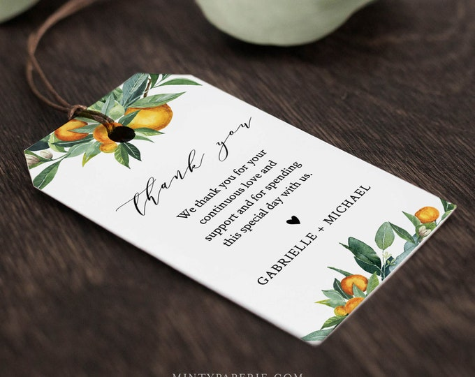 Citrus Orange Favor Tag for Bridal Shower or Wedding, Welcome Bag Tag, Lemon Thank You Tag, INSTANT DOWNLOAD, Editable Text #084-139FT