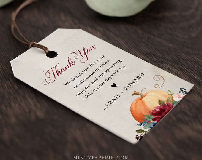 Pumpkin Favor Tag Template, Thank You Tag, Fall Bridal Shower or Wedding Tag, Welcome Bag, INSTANT DOWNLOAD, Editable, Templett #072A-142FT