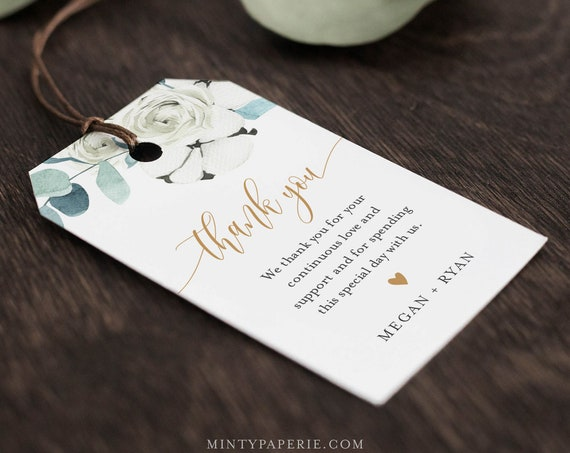 Winter Favor Tag Template, Cotton Greenery Wedding Thank You Tag, Bridal Shower Tag, Welcome Bag, INSTANT DOWNLOAD, Editable #091-149FT