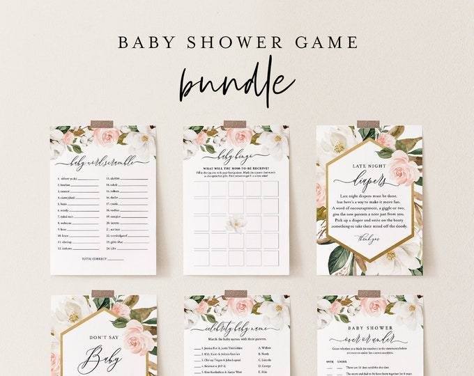 Baby Shower Game Bundle,Magnolia + Cotton, Editable Templates, Personalize Questions, Instant Download, Printable, Templett #015BBGB