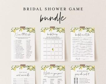 Bridal Shower Game Bundle, 12 Editable Templates, INSTANT DOWNLOAD, Customize Name & Questions, Citrus Lemon Bridal Games, Templett #089BGB