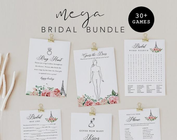 MEGA Paris Bridal Shower Game Bundle, 33 Games, Editable Templates, Parisian Theme Wedding Shower Games, Instant Download, Templett #001BGB