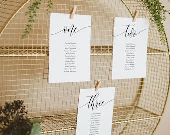 Minimalist Seating Chart Template, Modern Calligraphy Wedding Seating, Hanging Cards, 100% Editable, Instant Download, Templett #008-144SP