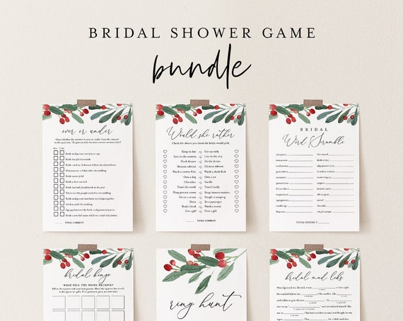 Bridal Shower Game Bundle, 12 Editable Templates, INSTANT DOWNLOAD, Customize Name & Questions, Winter Holly Bridal Games, Templett #071BGB