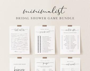 Minimalist Bridal Shower Game Bundle, 13 Editable Templates, Minimal, 100% Editable, Instant Download, Templett #0009BGB