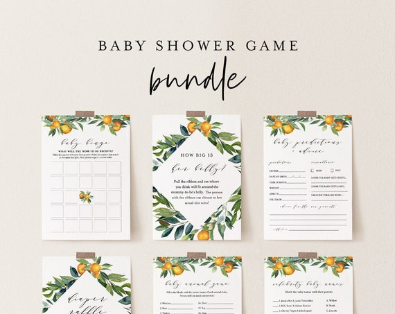 Baby Shower Game Bundle, 12 Editable Games, Citrus Orange, INSTANT DOWNLOAD, Personalize Questions, Editable Template, Templett #084BBGB
