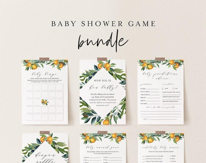 Baby Shower Game Bundle, 12 Editable Games, Citrus Orange, INSTANT DOWNLOAD, Personalize Questions, Editable Template, Templett #084BBGB