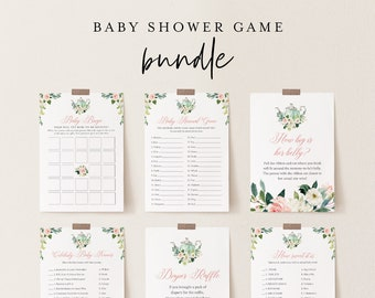 Baby Shower Game Bundle, Tea Party Shower, Editable Templates, Personalize Questions, Instant Download, Printable, Templett #085BBGB