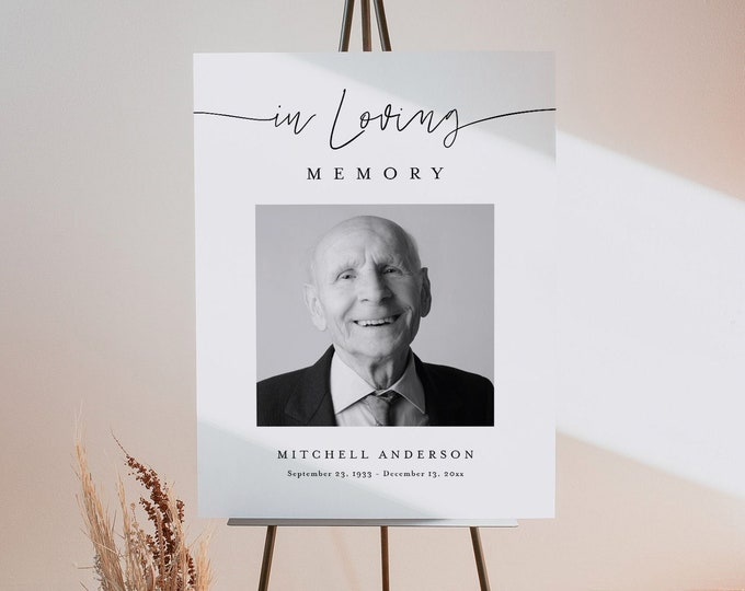 Funeral Memorial Sign, Minimalist Funeral Welcome Poster, Loving Memory, 100% Editable Template, Instant Download, Templett #094-242LS