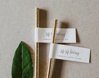 Straw Tag, Sip Sip Hooray, 100% Editable Template, Wedding Mini Drink Tag, Bridal Shower, Printable, INSTANT DOWNLOAD, Templett #102ST