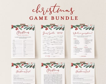 Christmas Game Bundle, Holiday Party Games, Family Fun, 12 Editable Games, Editable Template, Instant Download, Templett #071CGB