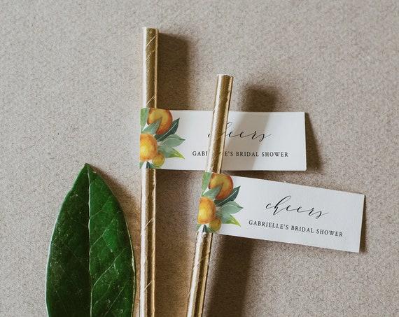 Citrus Straw Tag, Editable Template, Orange Wedding Mini Flag Tag, Bridal Shower Mimosa, Printable, INSTANT DOWNLOAD, Templett #084-105ST