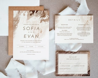 Agate Wedding Invitation Set, Earthy Bronze Gold Geode Wedding Invite, RSVP, Detail, Editable Template, Instant Download, Templett #098A
