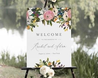 Garden Welcome Sign Template, Printable Summer Boho Floral Wedding or Bridal Shower Poster, Instant Download, Editable, Templett #054-184LS