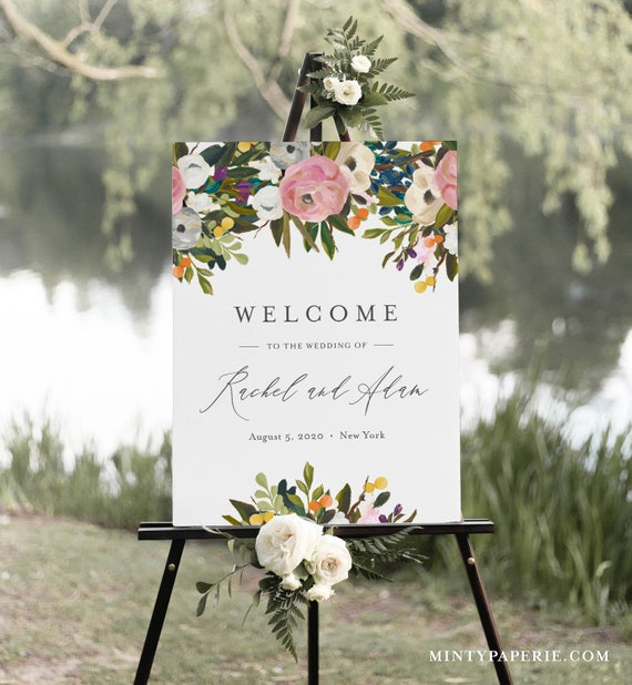 Garden Welcome Sign Template, Printable Summer Boho Floral Wedding or Bridal Shower Poster, Instant Download, Editable, Templett #054-184LS