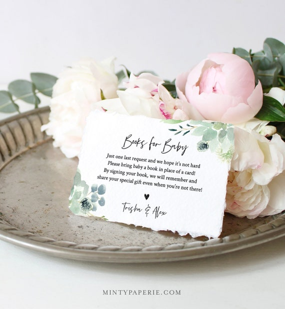 Books for Baby Card, Book Request, Baby Shower Invitation Book Insert, Succulent Greenery, 100% Editable Text, INSTANT DOWNLOAD #075-129EC