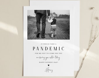 Funny Father's Day Card Template, Photo Card, Pandemic, Social Distance, 100% Editable, Print or Digital, Instant Download, Templett #104FDC