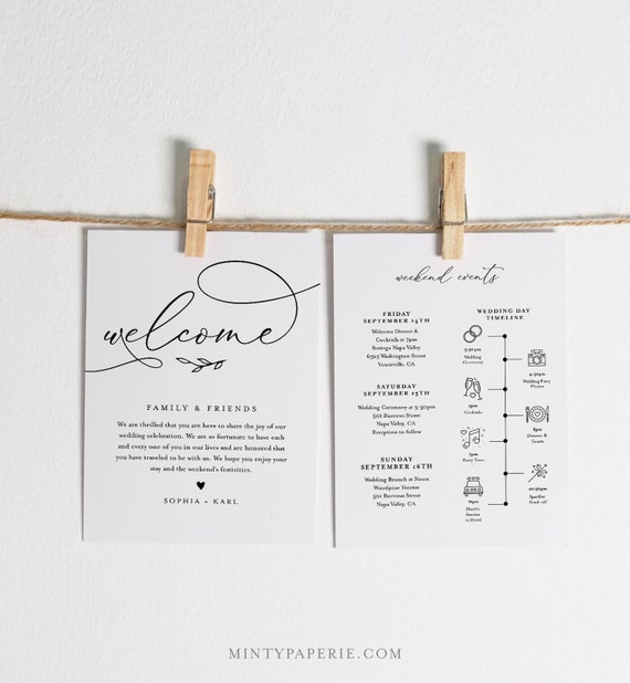 Welcome Bag Letter & Timeline Template, Printable Wedding Order of Events, Editable Itinerary, INSTANT DOWNLOAD, Templett #092-136WB