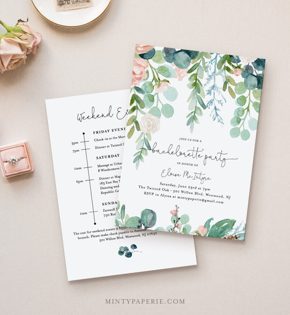 Garden Bachelorette Invitation & Itinerary Timeline, Editable Template, Printable Greenery Bachelorette, Instant Download #068A-128BP