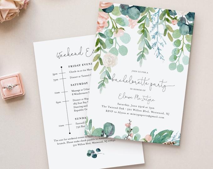 Garden Bachelorette Invitation & Itinerary Timeline, Editable Template, Printable Greenery Bachelorette, Instant Download #068A-128BP